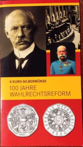 5 Euro Silber 2007 100 Jahre Wahlrechtsreform Blister ANK Nr. 9b