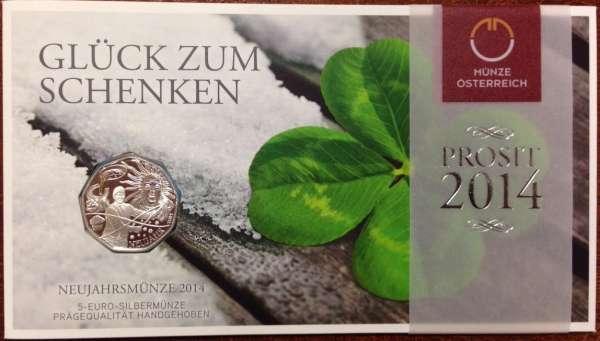 5 Euro Silber Neujahrsmünze 2014 Blister ANK Nr. 25a