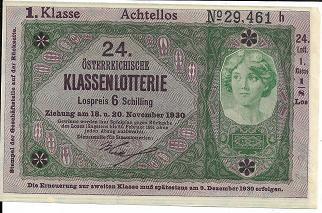 Donaustaat Noten 20 Kronen mit Lotterieaufdruck 1.Klasse 1930 ANK194