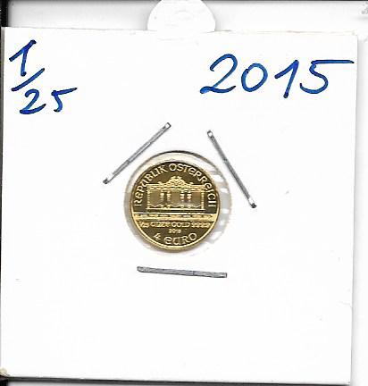 2015 Philharmoniker 1/25 Unze 4 € Euro 1,24 Gramm