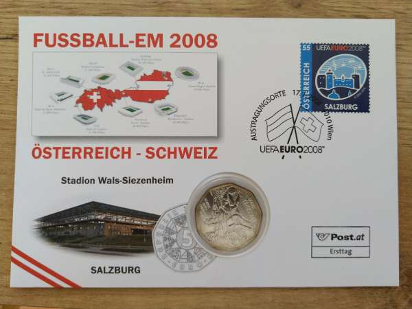NBE 15) Em 2008 Stadion Wals Siezenheim Numisbrief mit 5 Euro Silber Dribbling