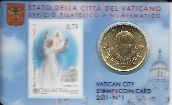 """Stamp+Coincard 50 Cent Vatikan 2011""""Papst Johannes Paul"""" NR. 01"""