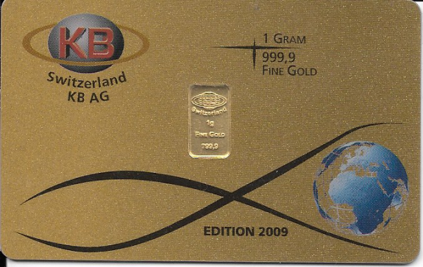1 Gramm Gold Barren Switzerland KB AG Edition 2009