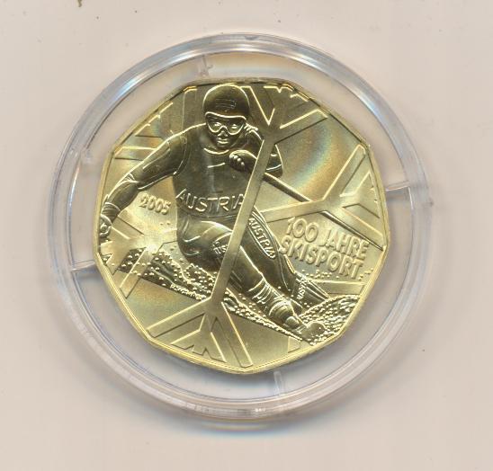 ANK Nr.05 24 Karat vergoldet 2005 100 Jahre Skisport 5 Euro Silber