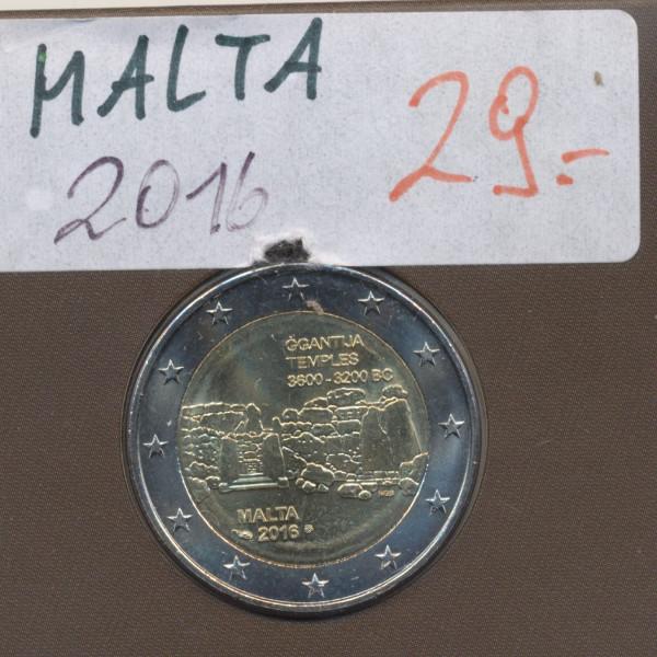 2 Euro Malta 2016 Ggantija Tempel mit Münzzeichen