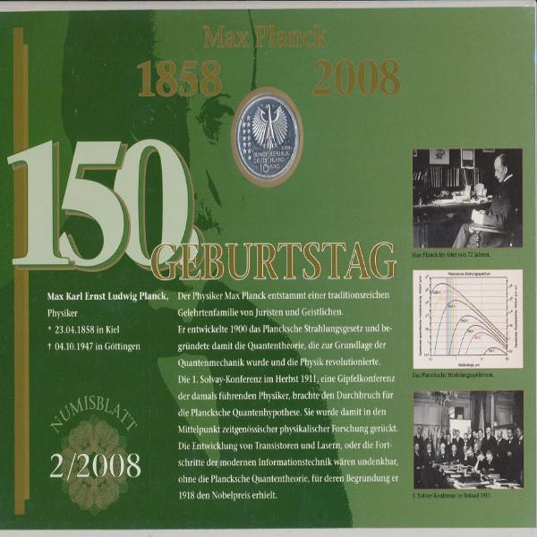 """Numisblatt Deutschland 2/2008 """"150. Geburtstag Max Planck"""" mit 10-€-Silbermünze"""