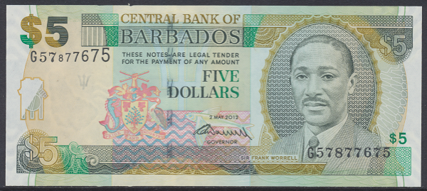 Barbados -5 Dollars 2012 UNC - Pick 67c