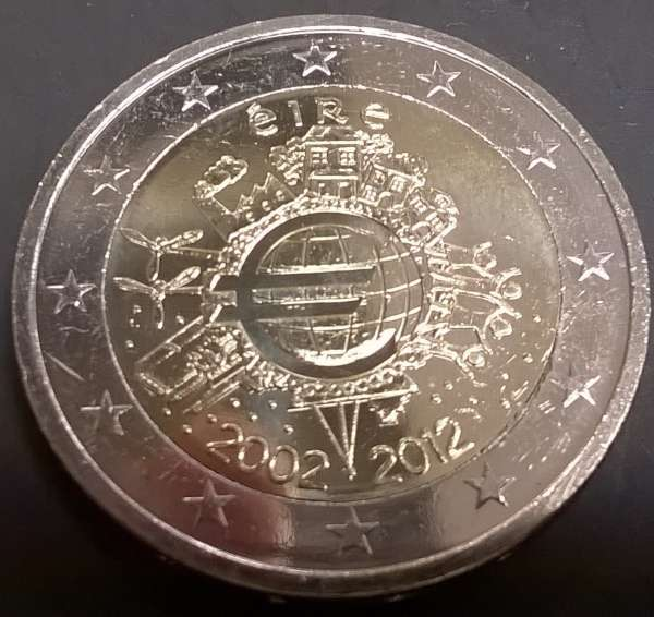 2 Euro Irland 2012 10 Jahre Euro