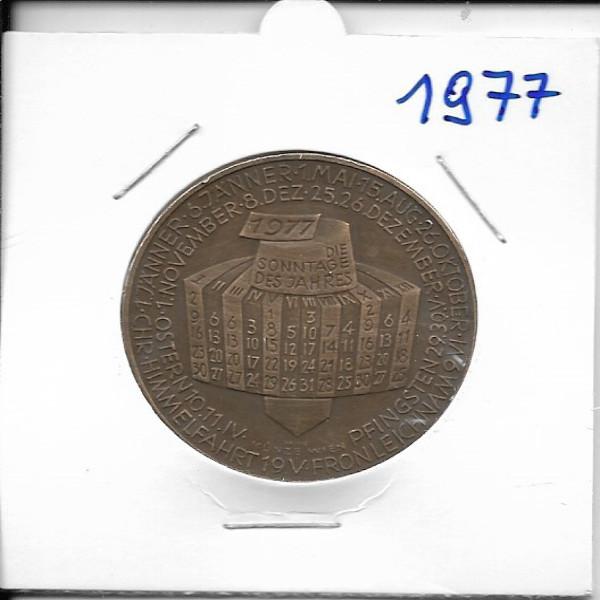 Kalendermedaille Jahresregent 1977 Bronze
