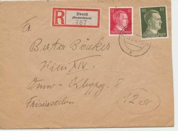 Reco Brief Zwettl-Wien 1944 12Pf+30Pf