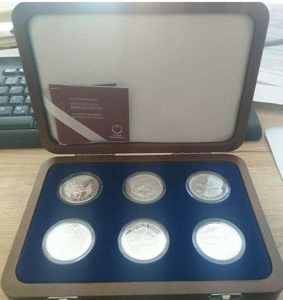 Sammel Kassette mit allen 20 Euro 2010-2012 Rom an der Donau Silber