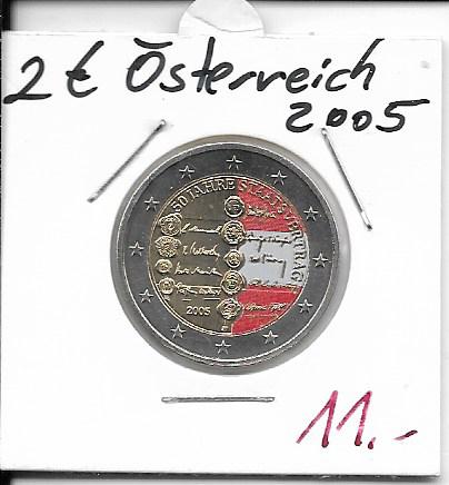 2 Euro Österreich 2005 50 Jahre Staatsvertrag Coloriert