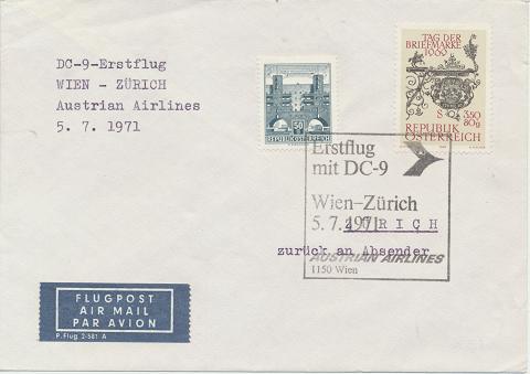 Erstflug DC-9 Wien-Zürich 5.7.1971