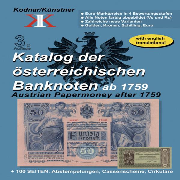 Katalog der österreichischen Banknoten ab 1759, 3. Auflage Künstner