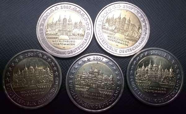 2 Euro Deutschland 2007 Mecklenburg Vorpommern alle 5 Prägestätten A,D,F,G,J