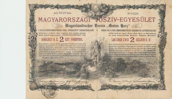 Los über 2 Gulden Ungarländischer Verein Gutes Herz 1888 Franz Joseph I