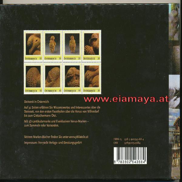 Briefmarkenbuch Steinzeit in Österreich mit 3D Lentikularmarke & 8 Briefmarken