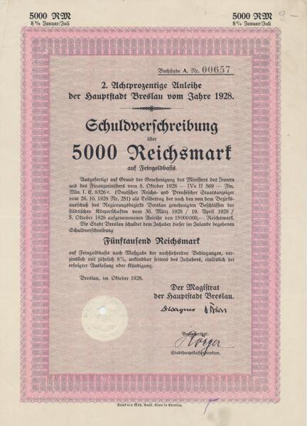 Breslau Schuldverschreibung 5000 Reichsmark 1928 auf Feingoldbasis