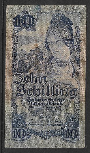10 Schilling 2.1.1933 Nr.1315 06096 ANK 222 Pick 99
