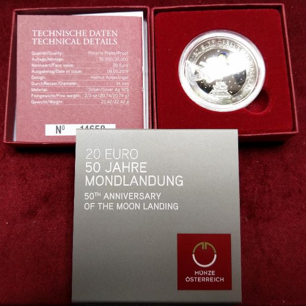 20 Euro 2019 50 Jahre Mondlandung Silber PP ANK Nr.44