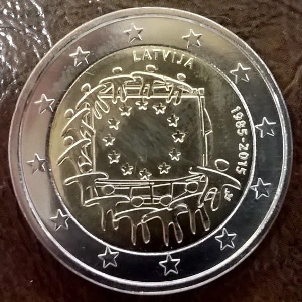 2 Euro Lettland 2015 30 Jahre Europa Flagge