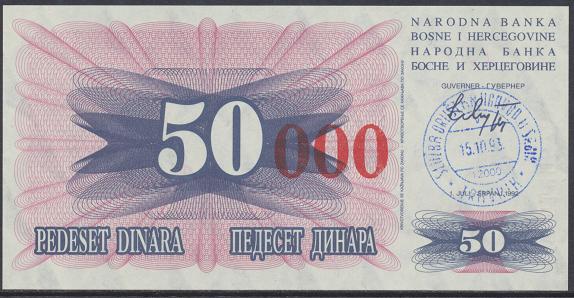 Bosnien Herzogowina- 50 000 Dinara 15.10.1993 unc - Pick Nr.55b Rot