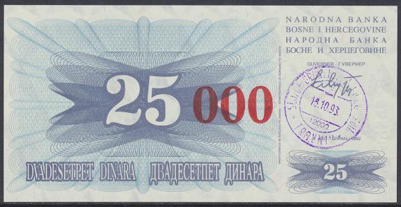 Bosnien Herzogowina- 25 000 Dinara 15.10.1993 unc - Pick Nr.54b Rot