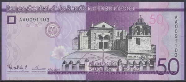 Dominikanische Republik – 50 Pesos (2014) (Pick 189) Erh. UNC