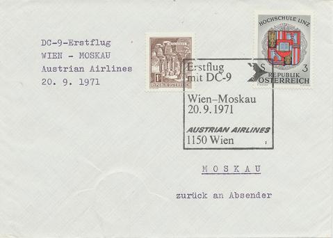 Erstflug Aua DC-9 Wien - Moskau 20.9.1971