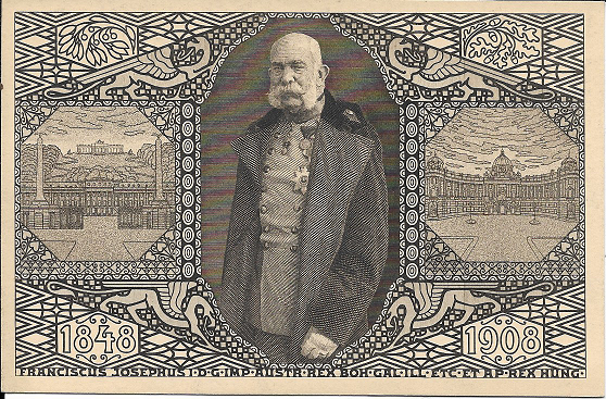 Kaiser Franz Josef 60 Jähriges Regierungs Jubiläum 1848-1908 Sonderstempel