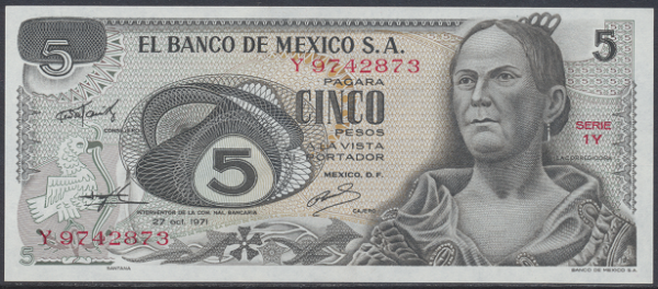 Mexiko- 5 Pesos 1971 UNC - Pick 62