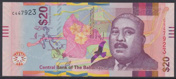 Bahamas -20 Dollar 2018 UNC - Pick 80