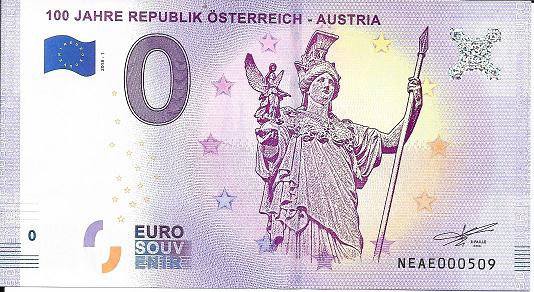 0 Euro Schein 2018-1 100 Jahre Republik Österreich Austria - Unc ANK.Nr.10