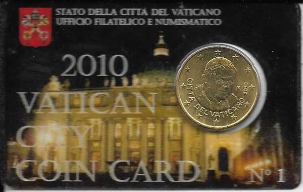 Coincard 50 Cent Kursmünze Vatikan 2010 Nr. 01