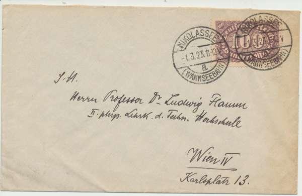 Brief Deutsches Reich 1923 Nikolassee -Wien