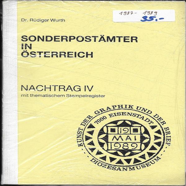 Sonderpostämter in Österreich Nachtrag 4 Dr.Würth Sonderstempelkatalog 1987-89