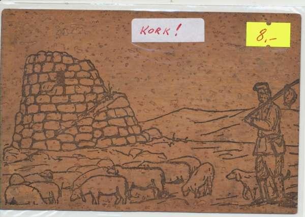 Kork Postkarte Paesaggio sardo 1965 nach Wien IV
