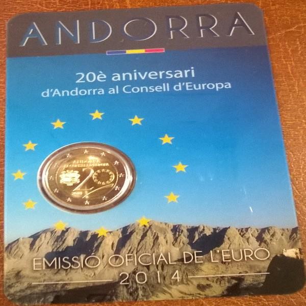 2 Euro Andorra 2014 20 Jahre Europarat Blister
