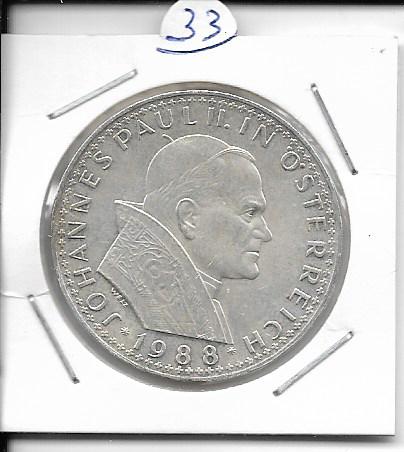ANK Nr. 33 Papstbesuch in Österreich 1988 500 Schilling Silber Normal