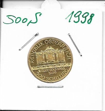 1998 Philharmoniker 1/4 Unze 500 Schilling ATS 7,78 Gramm