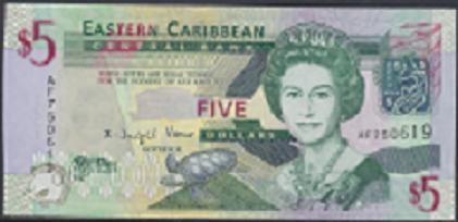 Eastern Caribbean – 5 Dollars (2008) (Pick 47) Erh. UNC