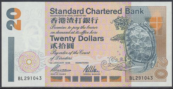 Hongkong - 20 Dollars 1996 UNC - Pick 285