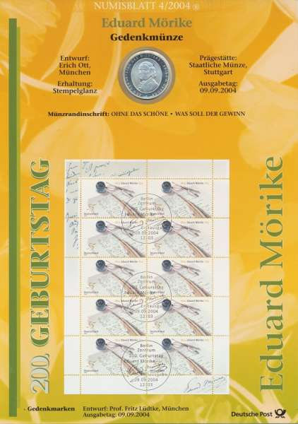 "Numisblatt Deutschland 2004/4 ""Eduard Mörike"" mit 10€ Silbermünze Gedenkmünze"