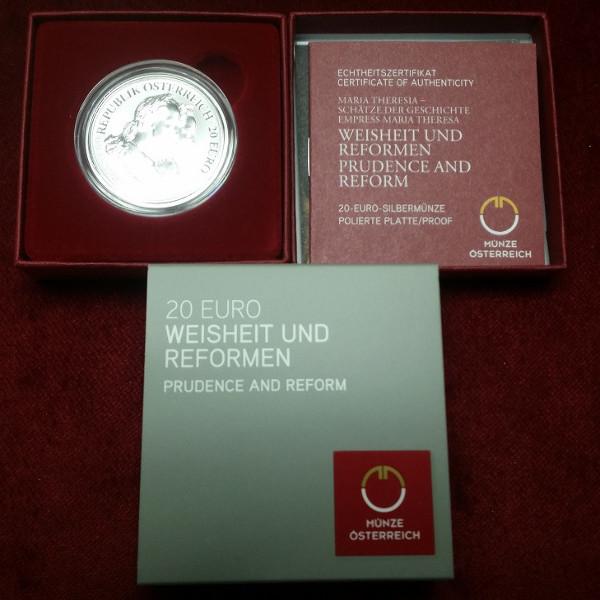 20 Euro 2018 Maria Theresia Weissheit und Reformen Silber PP ANK Nr.41