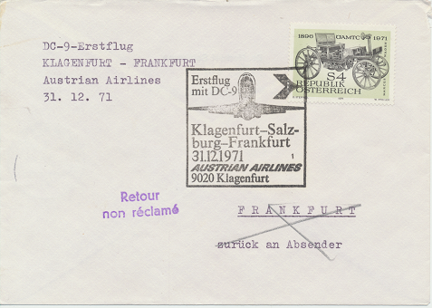 Erstflug Aua DC-9 Klagenfurt - Salzburg - Frankfurt 31.12.1971