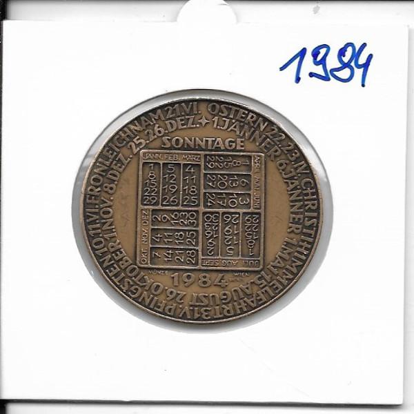 Kalendermedaille Jahresregent 1984 Bronze