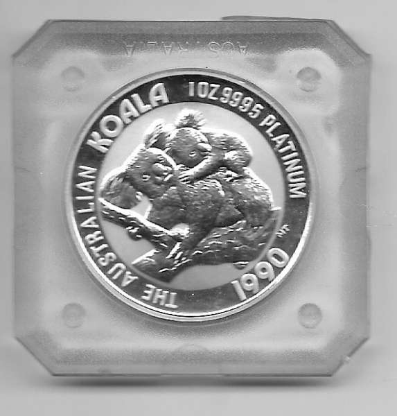 1 unze Platin Australien Koala 1990 100 Dollars