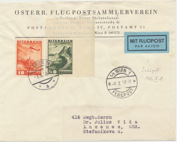 Österreichischer Flugpostsammlerverein Wien- CSR.7.10.1936
