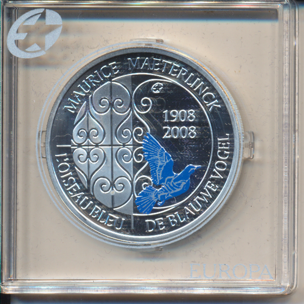 10 Euro 2008 PP Silber Ag Belgien Maurice Maeterlinck - Der blaue Vogel Europa Stern