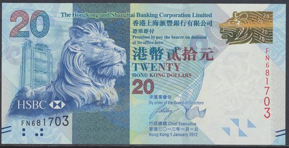 Hongkong - 20 Dollars 2012 UNC - Pick 212